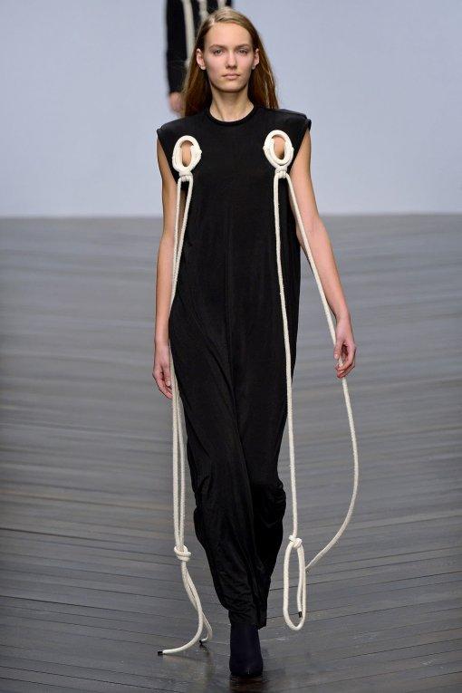 Model wearing original black and white dress