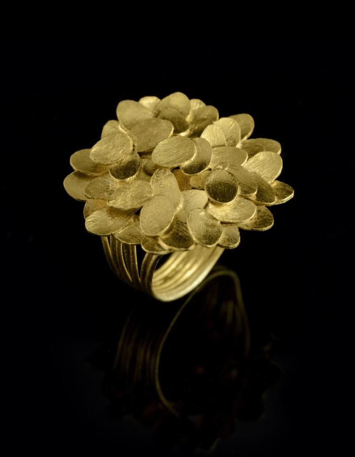 """Petal's Path"" Gold plated Silver ring"