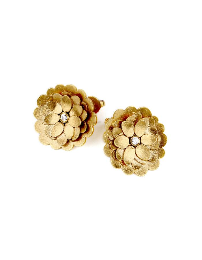 """Petal's Path"" Gold plated Silver earings with zircon"