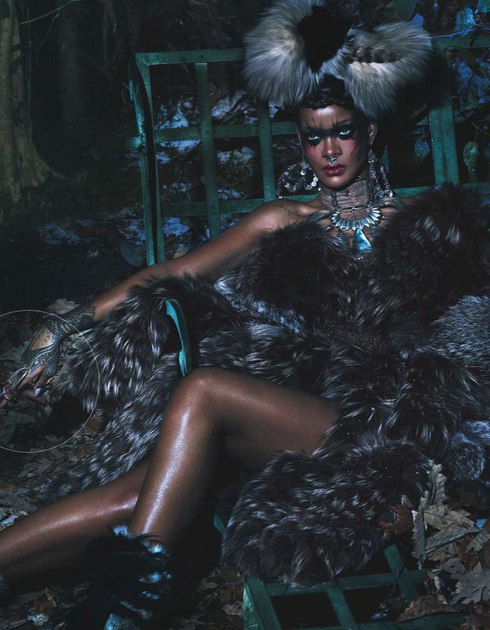 Rihanna wearing Diaboli Kill Jewelry rings in W Magazine