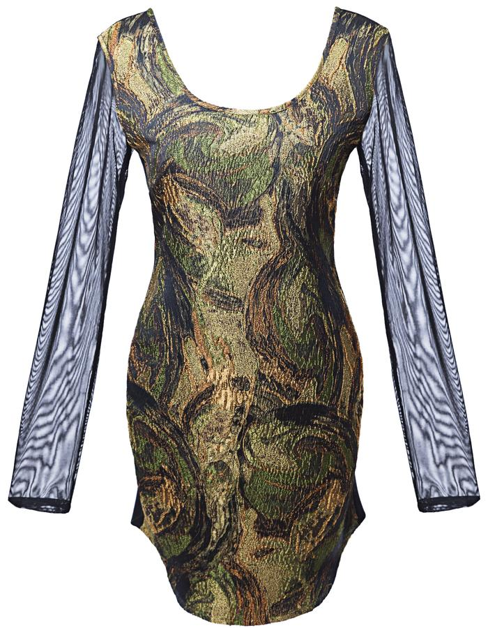 Shift dress with mesh sleeves
