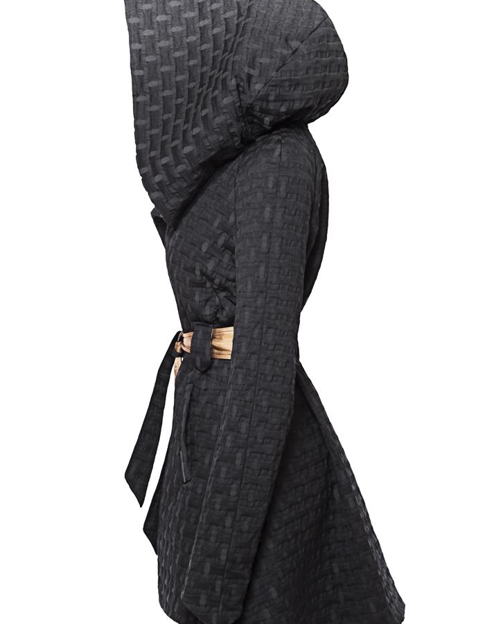 Over-sized Swingcoat with removable hood, side