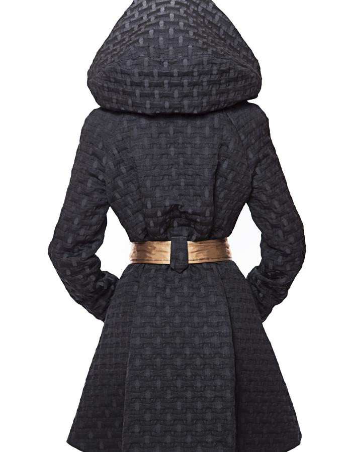 Over-sized Swingcoat with removable hood, back