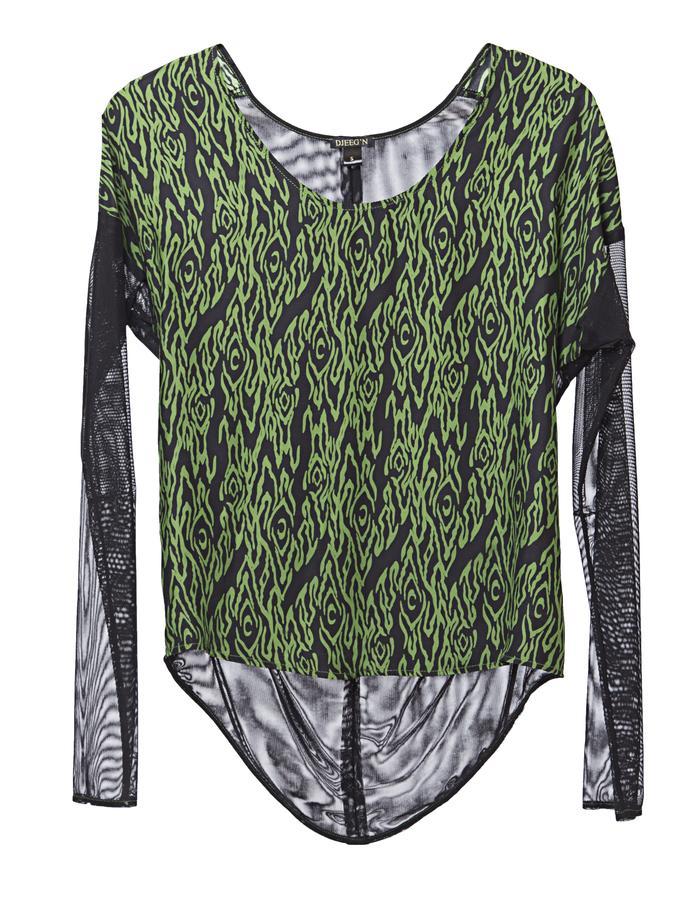Silk long sleeves Tee with mesh combo