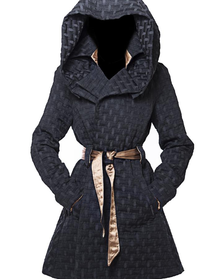 Over-sized Swingcoat with removable hood, front