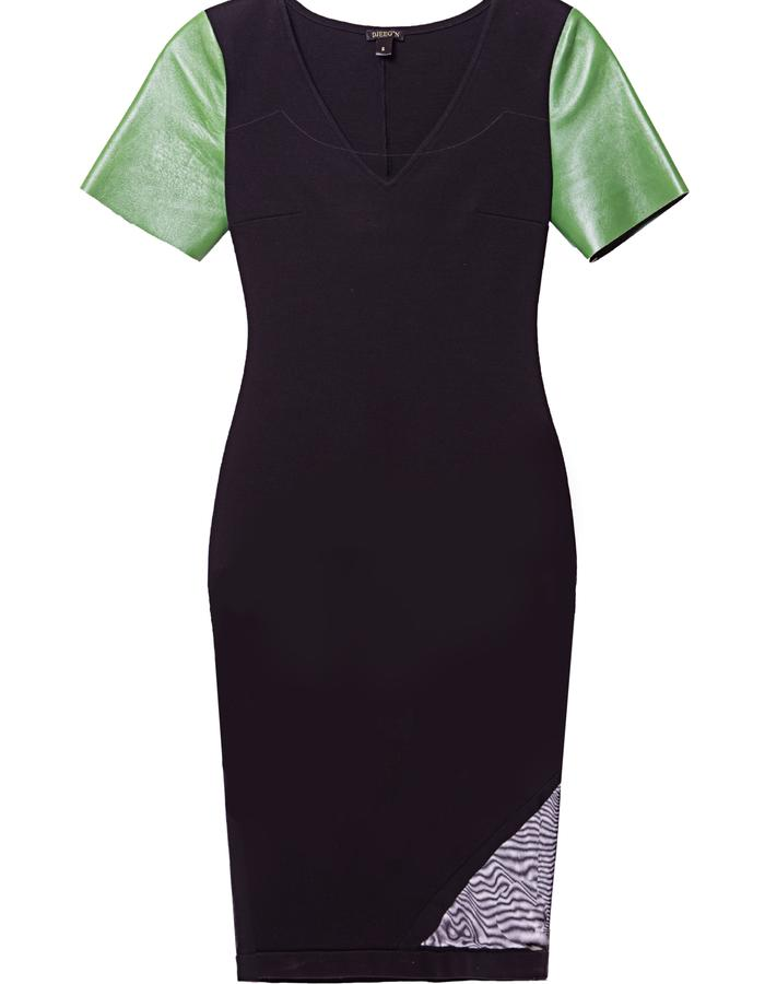 Ponte pencil dress with mesh detail and leather sleeves