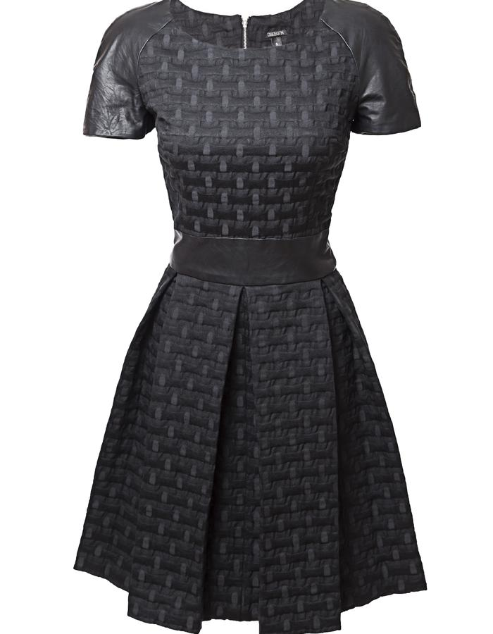 Leather detail pleated black dress