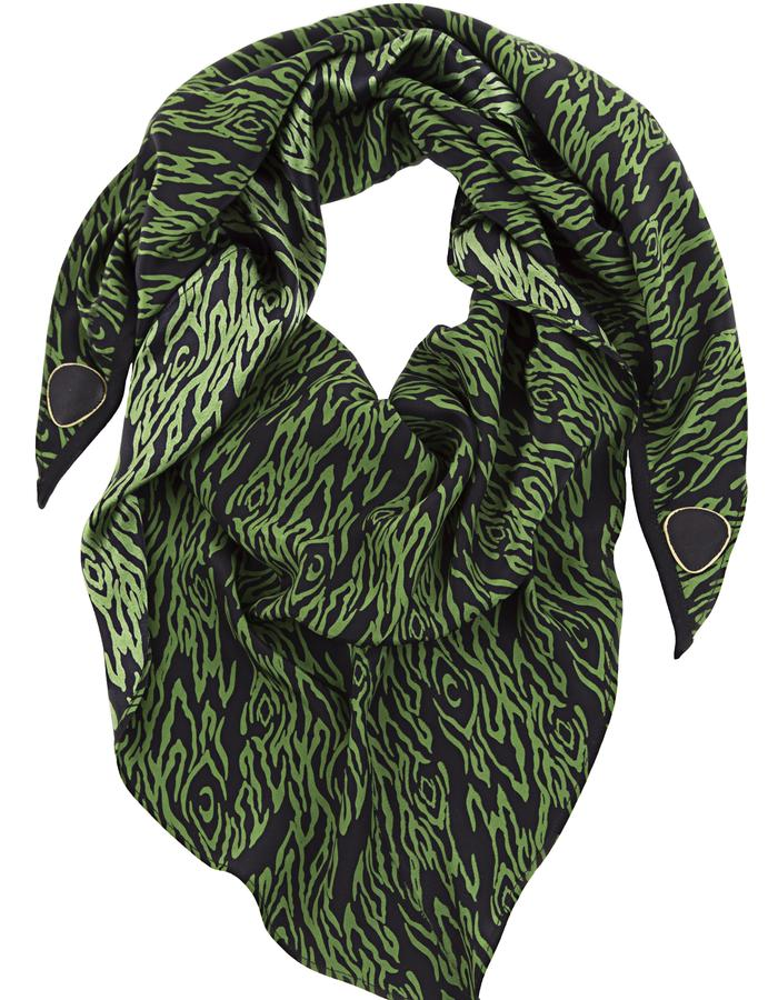 100% Silk scarf/headwrap with genuine leather triangle details
