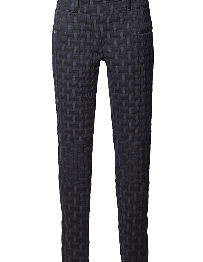 Biker pants with signature asymetrical fly closure