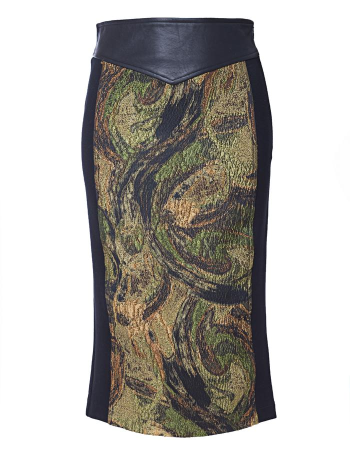 Ponte pencil skirt with genuine leather detail