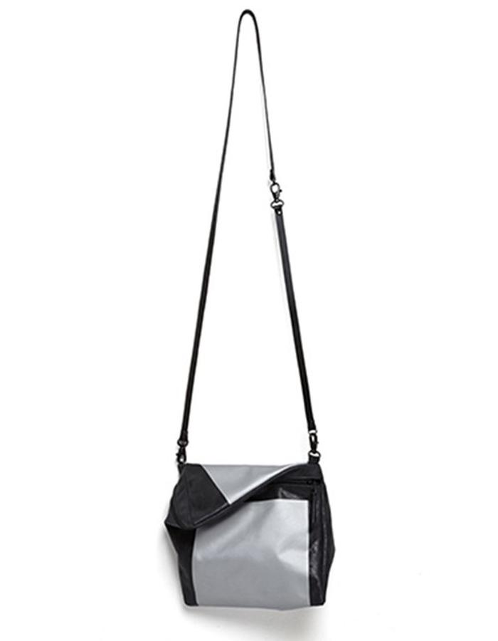Prism Black Leather with Print Shoulder Bag