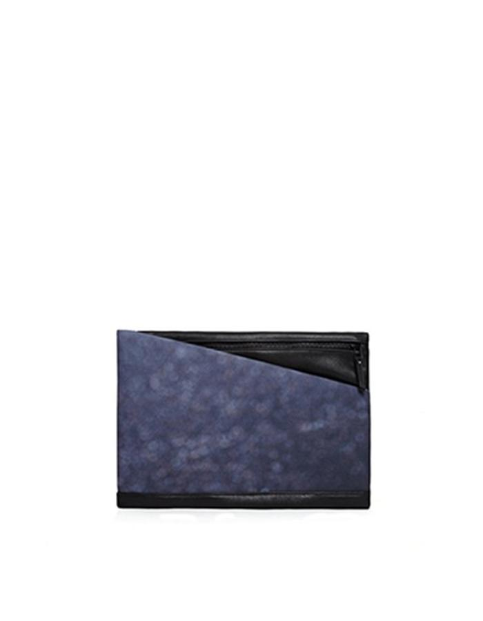 Alderney Black Leather and Printed Canvas Clutch