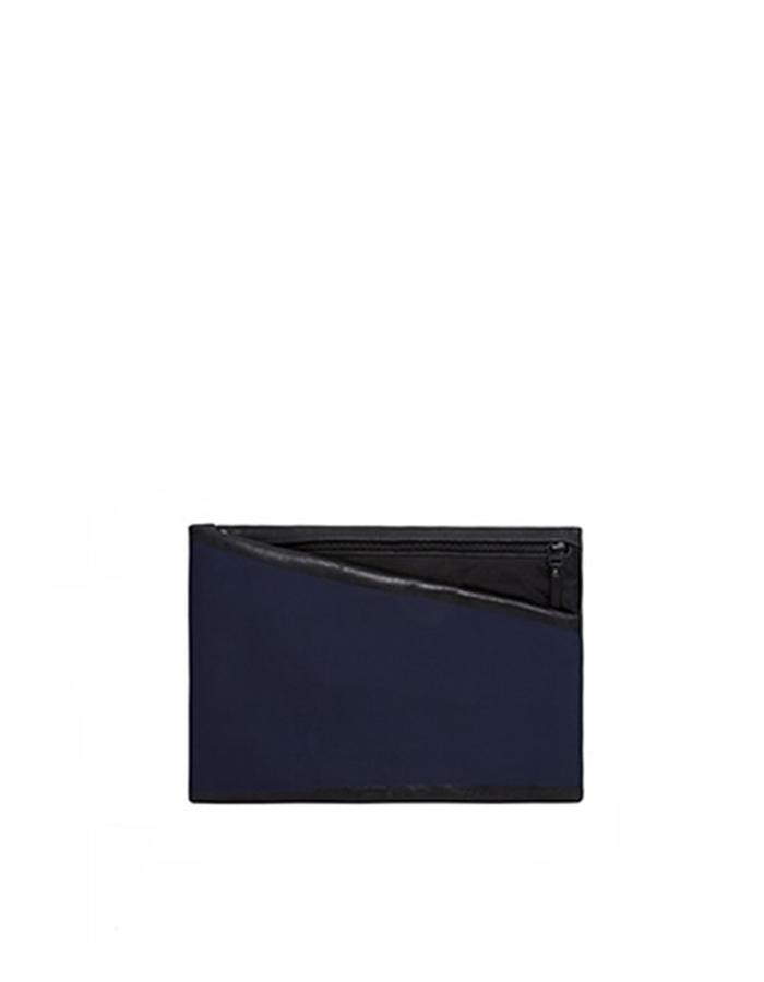 Alderney Black Leather with Print Clutch