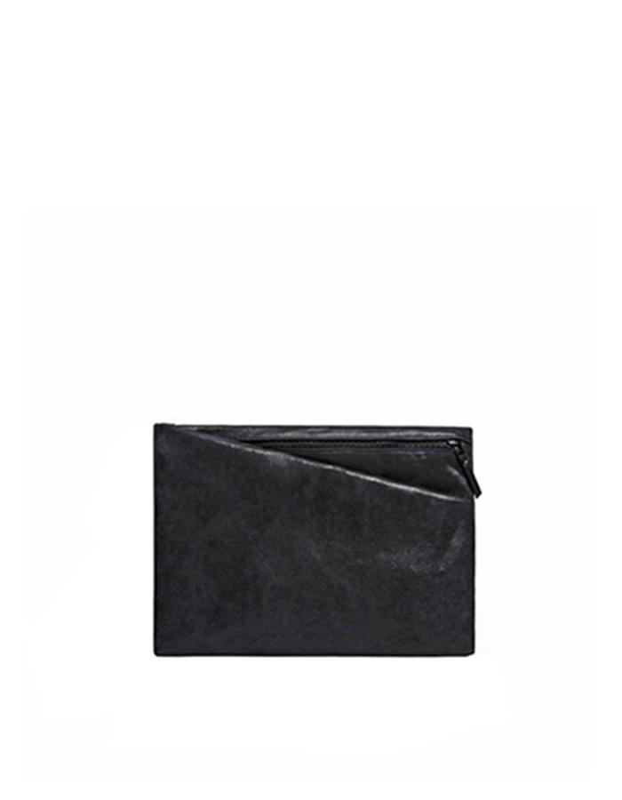 Alderney Black Leather Clutch
