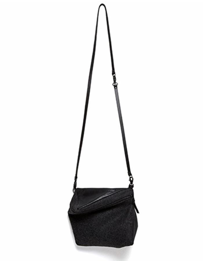 Prism Black Leather and Wool Shoulder Bag