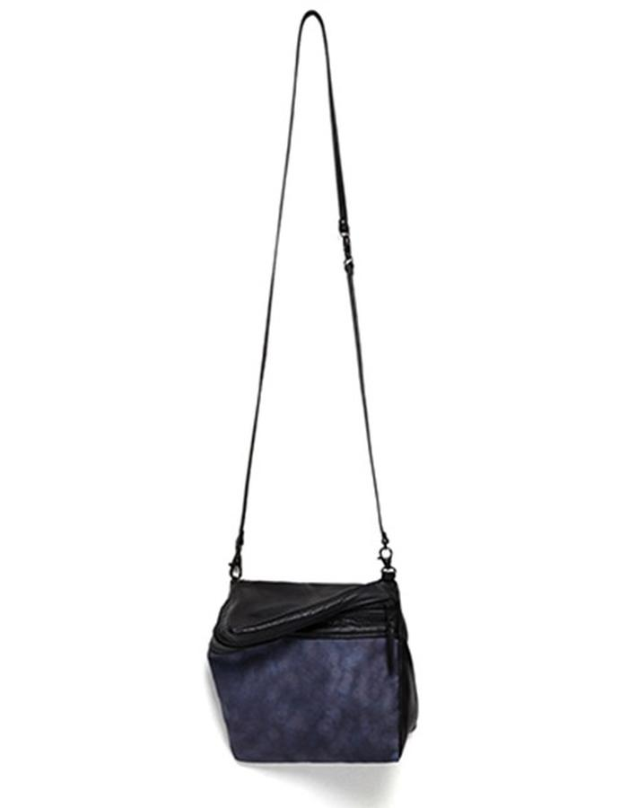 Prism Black Leather and Printed Canvas Shoulder Bag