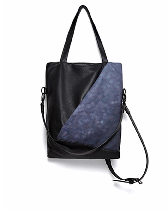 Warrington Small Black Leather and Printed Canvas Convertible Bag