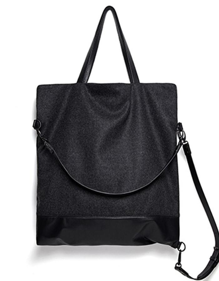 Wilton Large Black Leather and Wool Convertible Bag