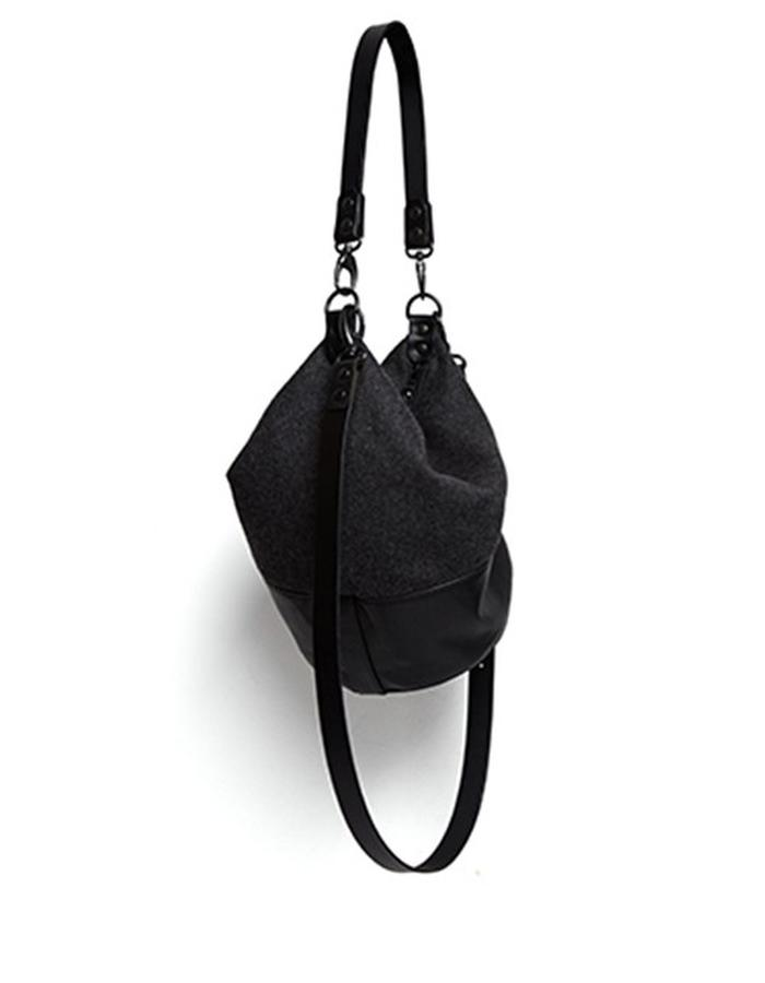 Wesley Black Leather and Wool Shoulderbag