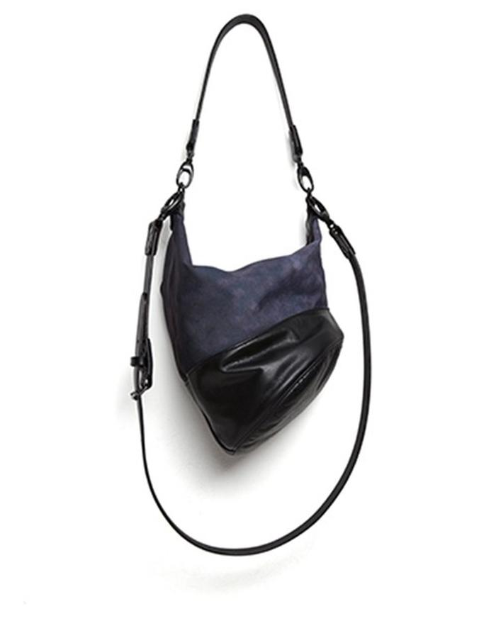 Wesley Black Leather and Printed Canvas Shoulderbag
