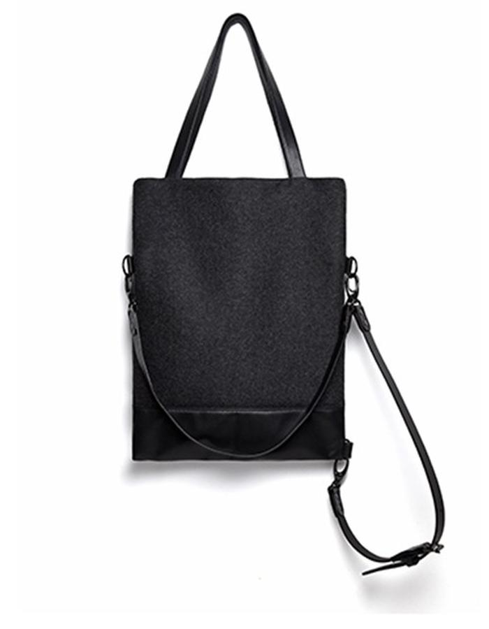 Wilton Small Black Leather and Wool Convertible Bag
