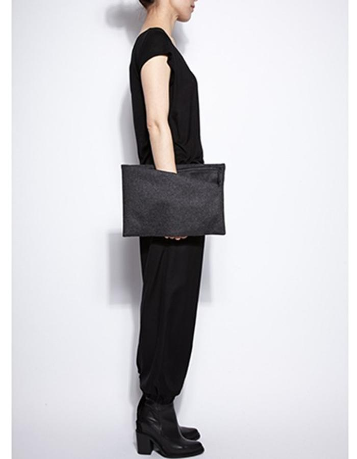 Alderney Black Leather with Wool Clutch