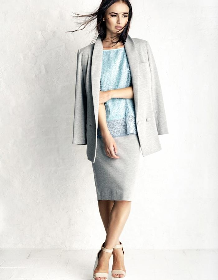 Grey Jacket #Linda, Duck Egg Blue Lace Camisole #Nadine and Grey Pencil Skirt #Clair