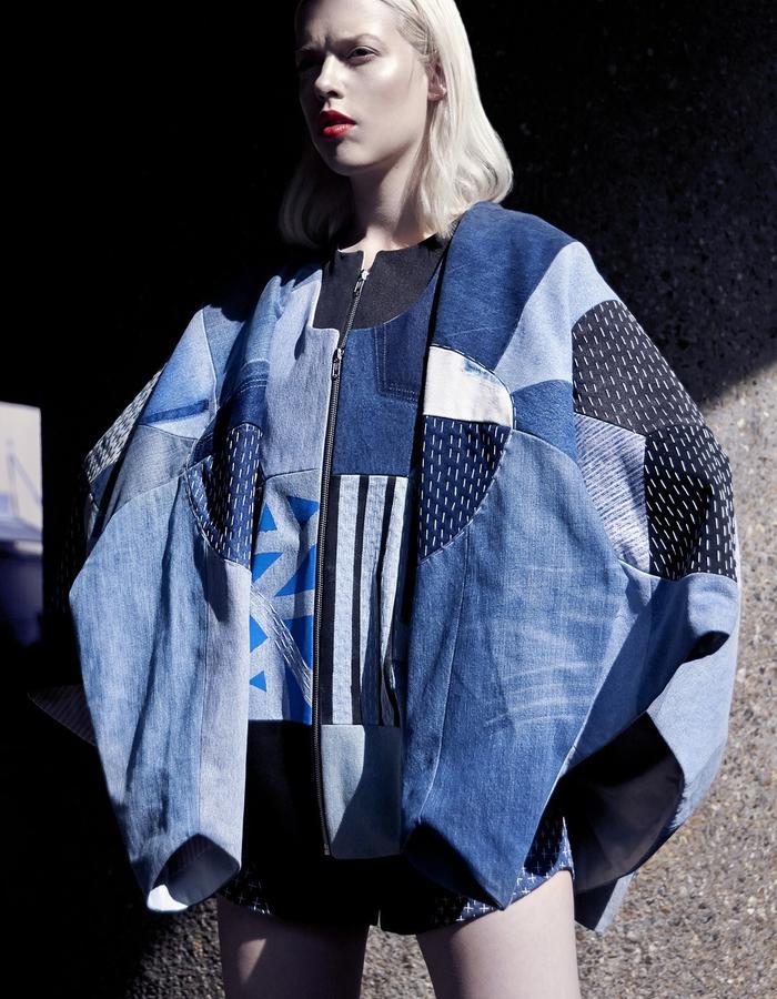 Elina Priha SS15 Denim Varsity Jacket
