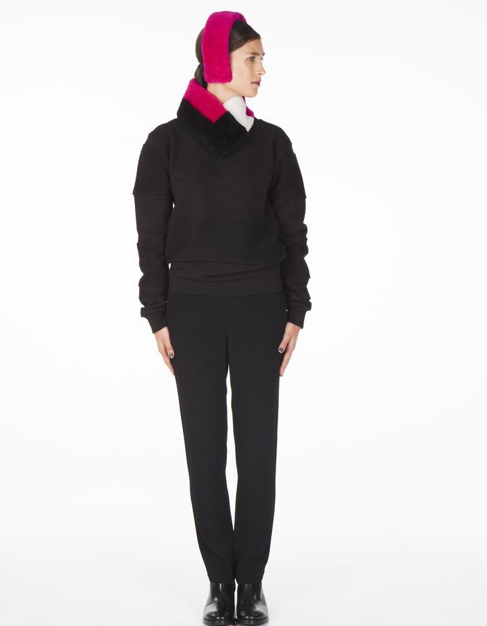 ONAR CLEO earmuff + TETRIS collar - pink/black/white merino lamb shearling