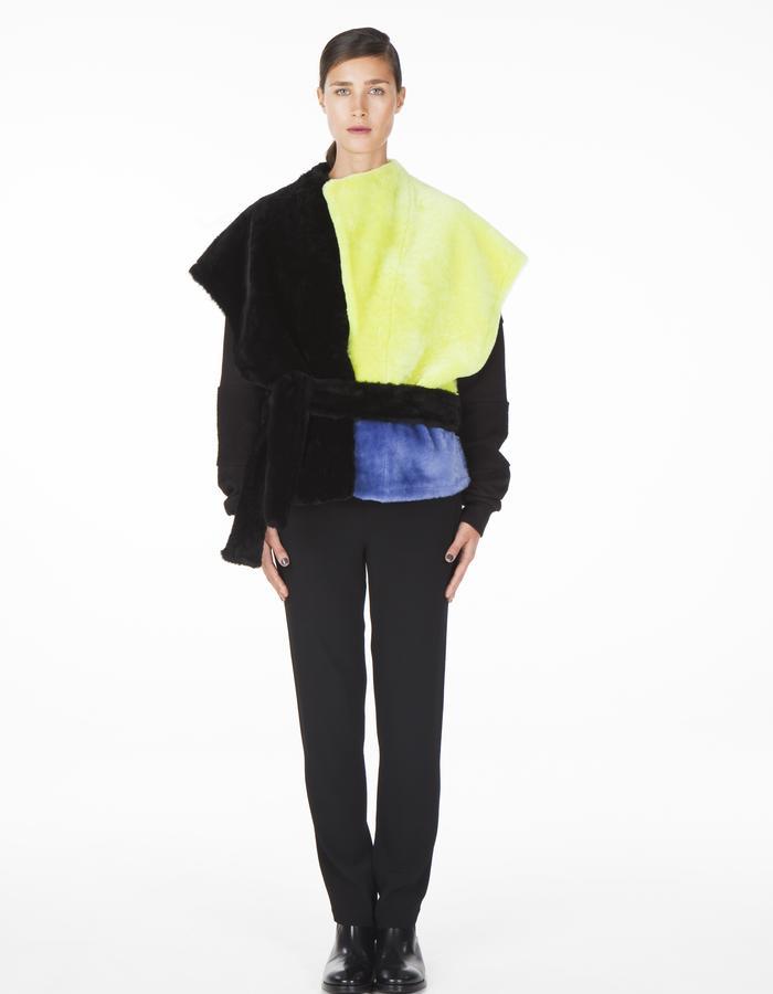 ONAR IPEK vest - black/acid/yellow Merino lamb shearling