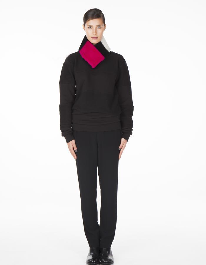 ONAR KIM collar - pink/black/white Merino lamb shearling