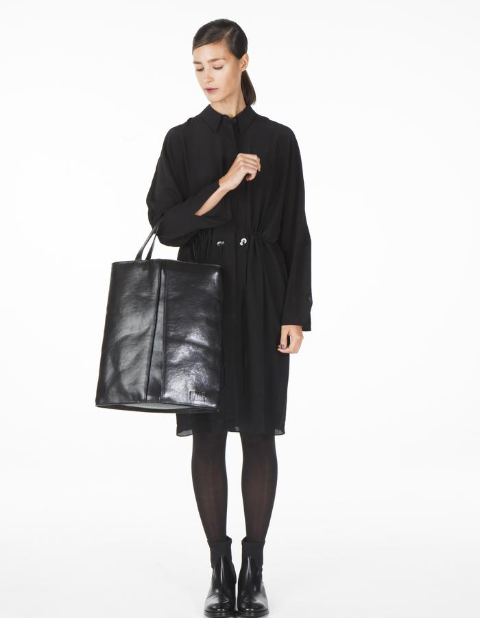 ONAR RHOMBUS tote bag - black nappa leather