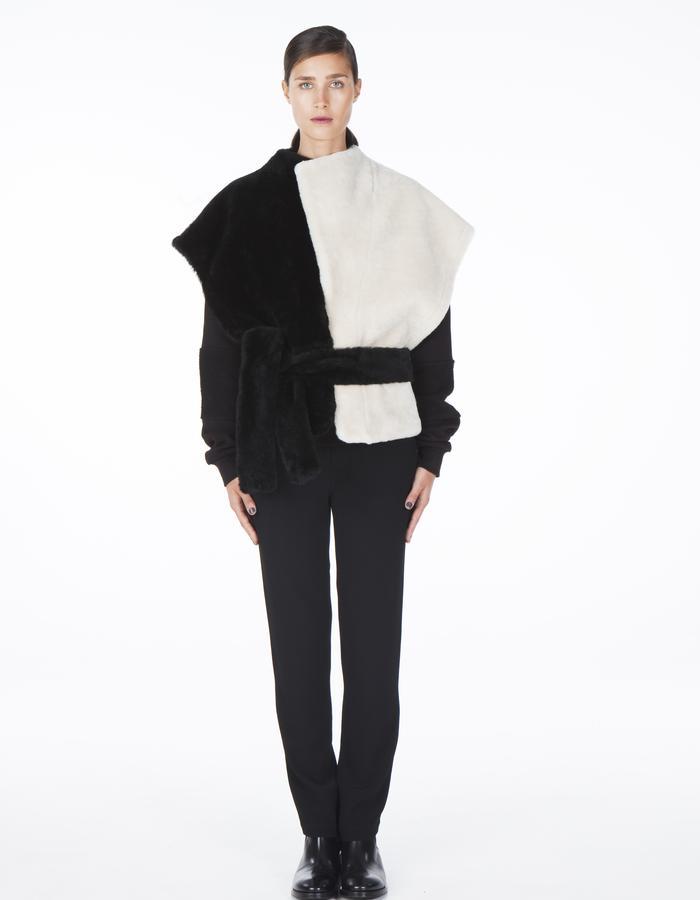 ONAR IPEK vest - black/white Merino lamb shearling
