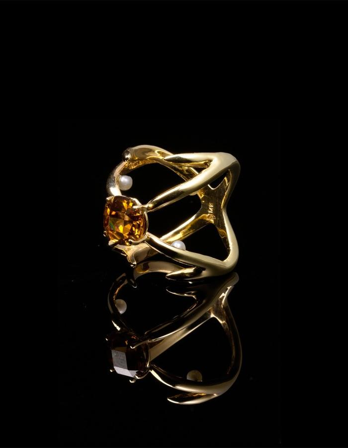 Antler Knuckle Ring with Peeking Pearls and Tanzanian Zircon, 14k Gold
