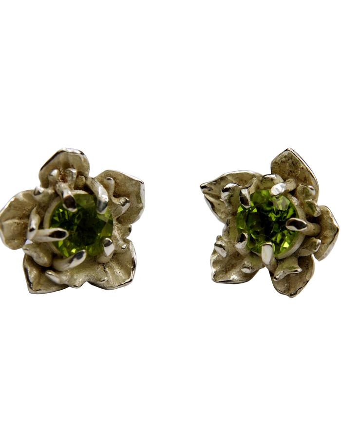 Olive flower earrings