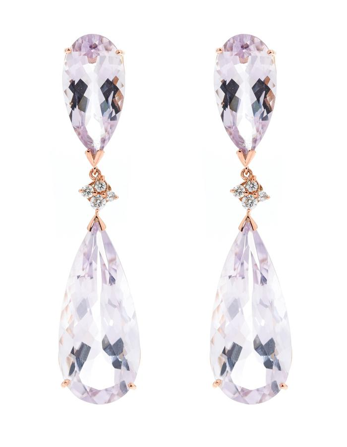 Blossom Drops - Rose Gold, +47ct's Amethyst & Diamond