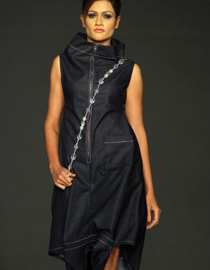 CONE SHAPED DRESS WITH HIGH COLLAR CUT IN ONE PIECE