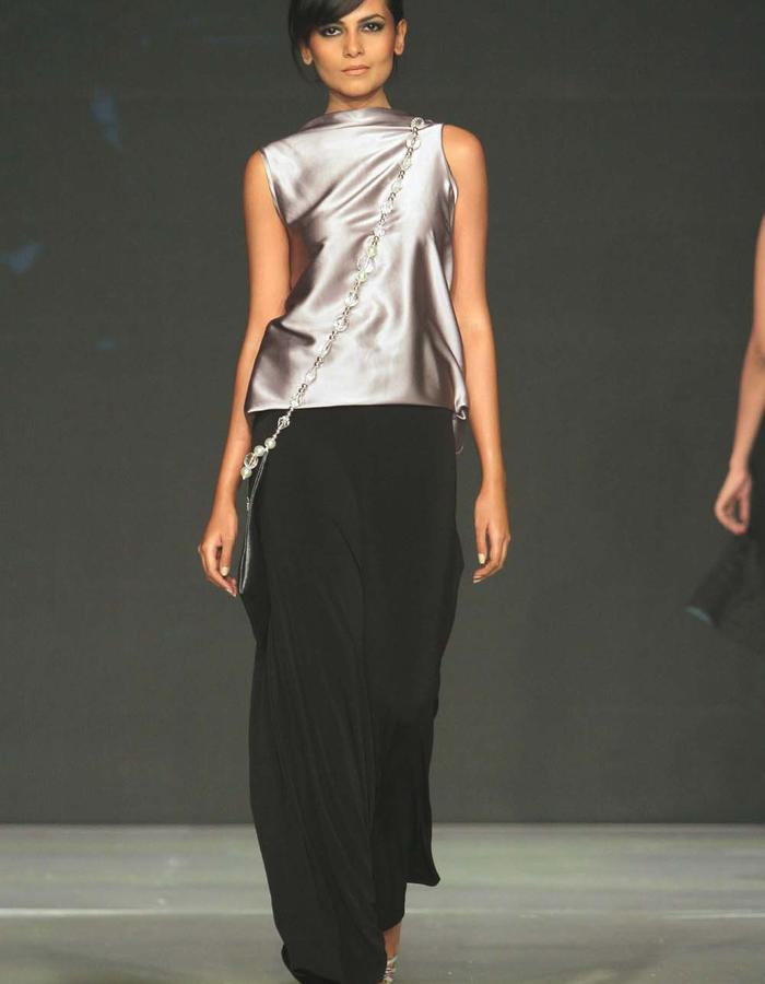 LOW CROTCH FLARED PANTS / GOURD TOP IN PURE SILK