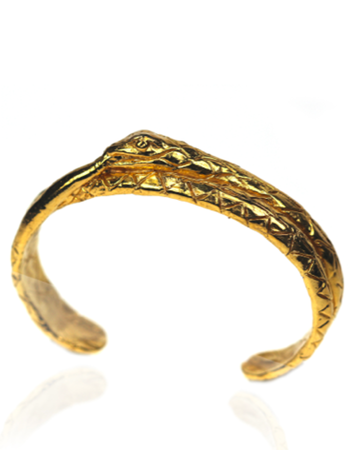 24 karat gold plated on silver oroborus cuff bracelet, hand carved lost wax cast