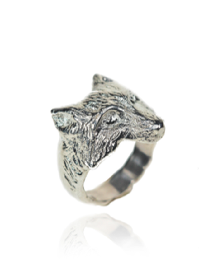 sterling silver fox head ring, hand carved lost wax cast