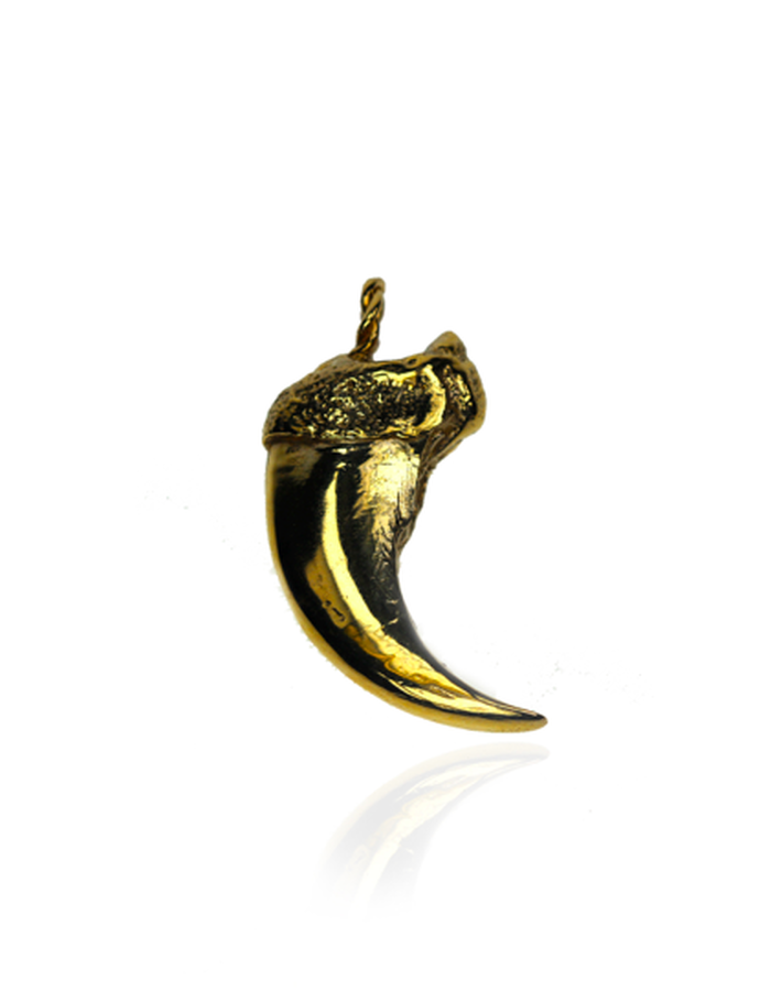 24 karat gold plated on sterling silver black bear claw, hand carved lost wax cast