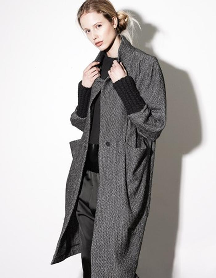 Herringbone Coat with handknit cuffs style # 0604