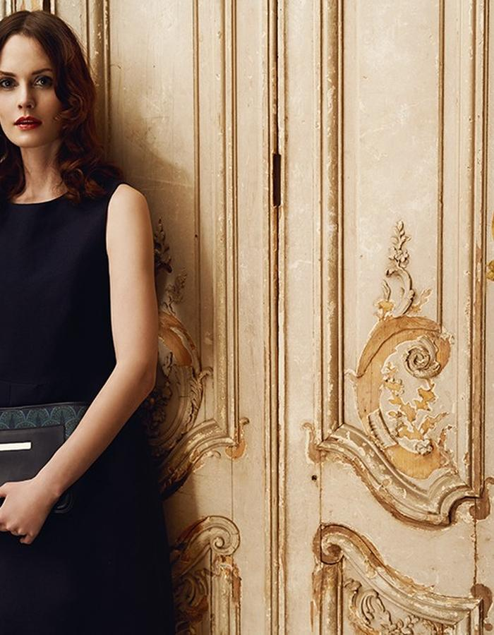 Catherine Clutch in Midnight Blue Peacock campaign