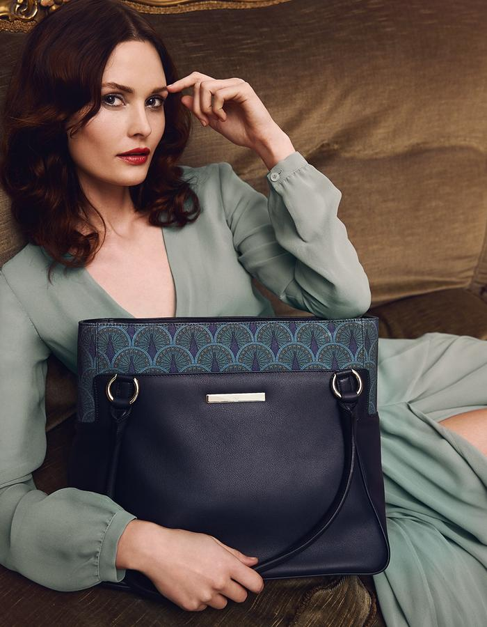 Catherine Shopper in Midnight Blue Peacock campaign