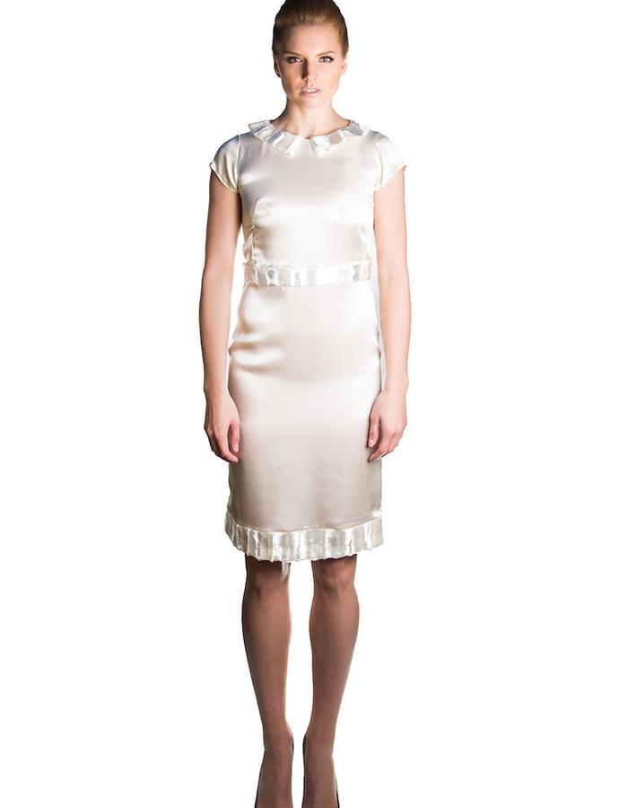 White silk and fur dress