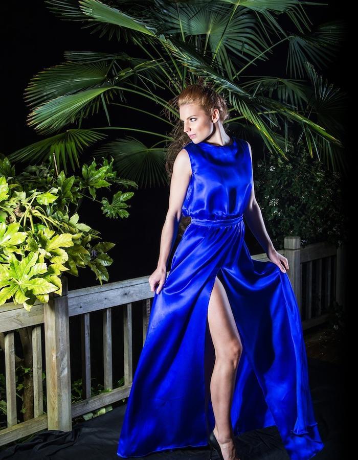 Royal blue silk evening gown
