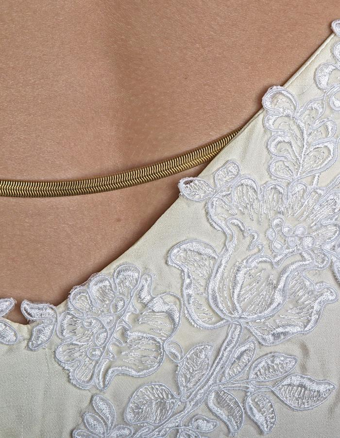 Elegant silk satin gown (lace and snake chain element)