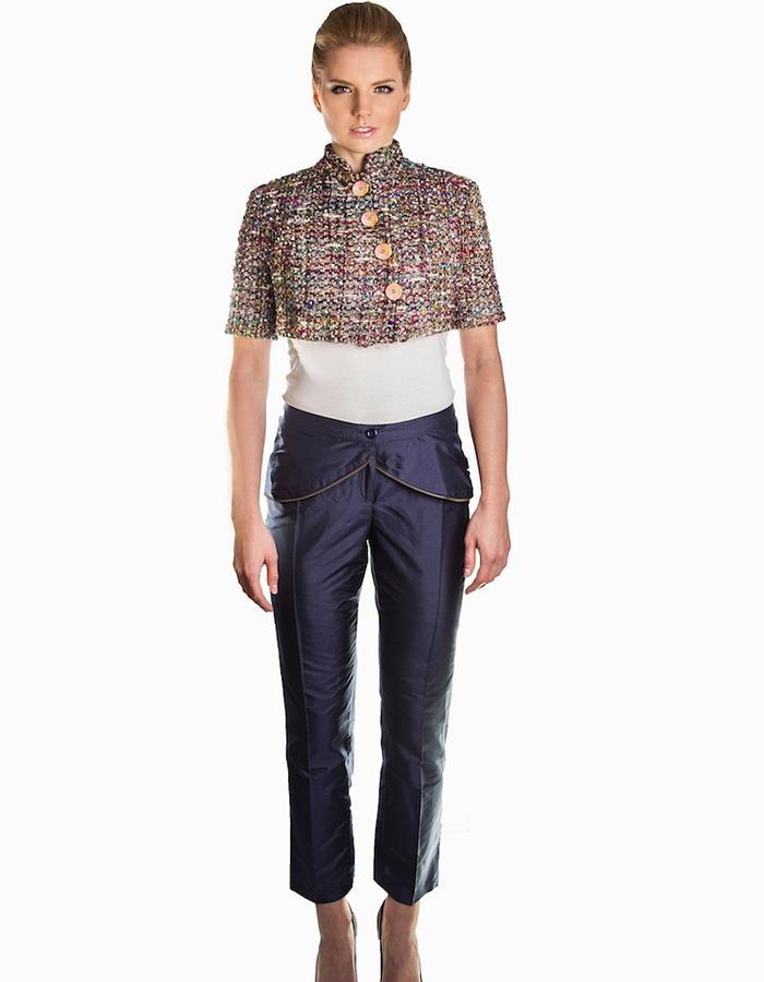 Dark blue silk trousers