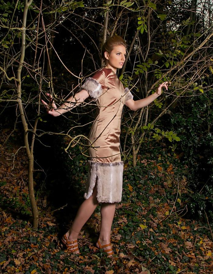 Faux fur and raw silk fitted dress