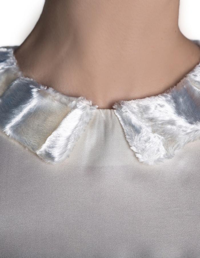 White silk and fur dress (collar)